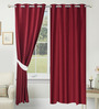Azaani Red Polyester 84 x 48 Inch Solid Eyelet Door Curtain - Set of 2
