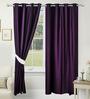 Azaani Purple Polyester 84 x 48 Inch Solid Eyelet Door Curtain - Set of 2