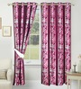 Azaani Brown Polyester 84 x 48 Inch Floral Eyelet Door Curtain - Set of 2