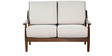 Barquisimeto Beige Two Seater Sofa in Brown Oak Finish by CasaCraft