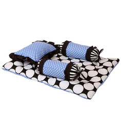Bacati Black Dots Blue Black 4 Pc Mattress Set