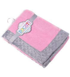 Bacati Solid Pink With Grey Border Baby Blanket