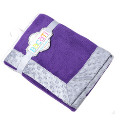 Bacati Solid Purple With Grey Border Baby Blanket
