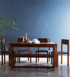 Elkhorn Six Seater Dining Set In Honey Oak Finish By Woodsworth