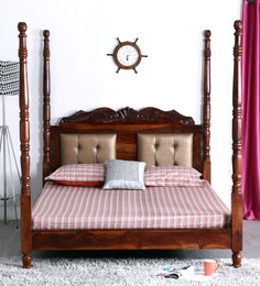 Bayley King Size Poster Bed in Honey Oak Finish by Amberville
