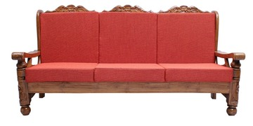 Ballentyne Teak Wood Three Seater Sofa In Natural Teak Finish By Finesse