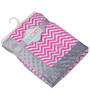 Bacati Bright Pink ZigZag with Grey Border Baby Blanket