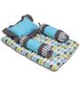 Bacati Elephant 4-Piece Mattress Set in Aqua Lime & Grey