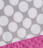 Bacati Grey Dots with Bright Pink Border Baby Blanket