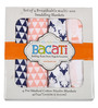 Bacati Olivia Tribal Buck Feathers & Triangles Swaddling Blankets in Coral & Navy (Set of 4)