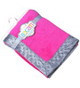 Bacati Solid  Bright Pink with Grey Border Baby Blanket