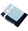 Bacati Solid Blue with Navy border Baby Blanket