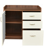 Ballie Credenza Table with Three Drawers & One Shutter in Walnut & Frosty White Colour by Crystal Furnitech