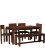 Elkhorn Solid Wood Six Seater Dining Set in Provincial Teak Finish by Woodsworth