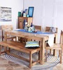 Elkhorn Solid Wood Six Seater Dining Set in Natural Finish by Woodsworth