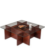 Basco Center Table with Glass Top in Rosewood Finish by Durian