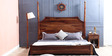 Bertoli Queen Size Bed in Provincial Teak Finish by Amberville