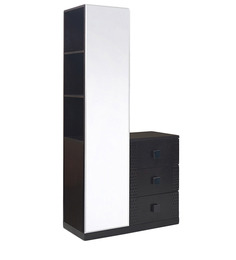 Beetle Dresser Unit with Full-Size Mirror in Brown Finish by @home