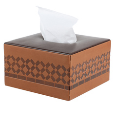 Belmun Cheques Embossed Square Tan Leatherette Tissue Box