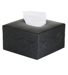 Belmun Textured 3 Petal Floral Embossed Square Black Leatherette Tissue Box
