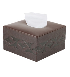 Belmun Textured 3 Petal Floral Embossed Square Brown Leatherette Tissue Box