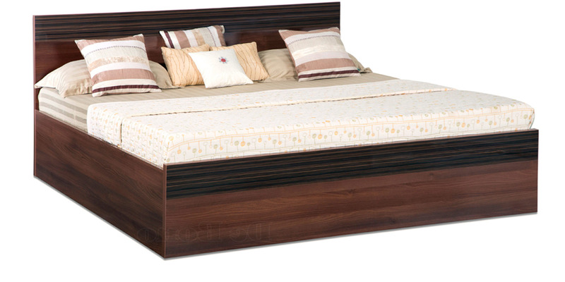 Belda Z King Bed with Box Storage in High Gloss Zebrano & Acacia Dark Matt Finish by Debono