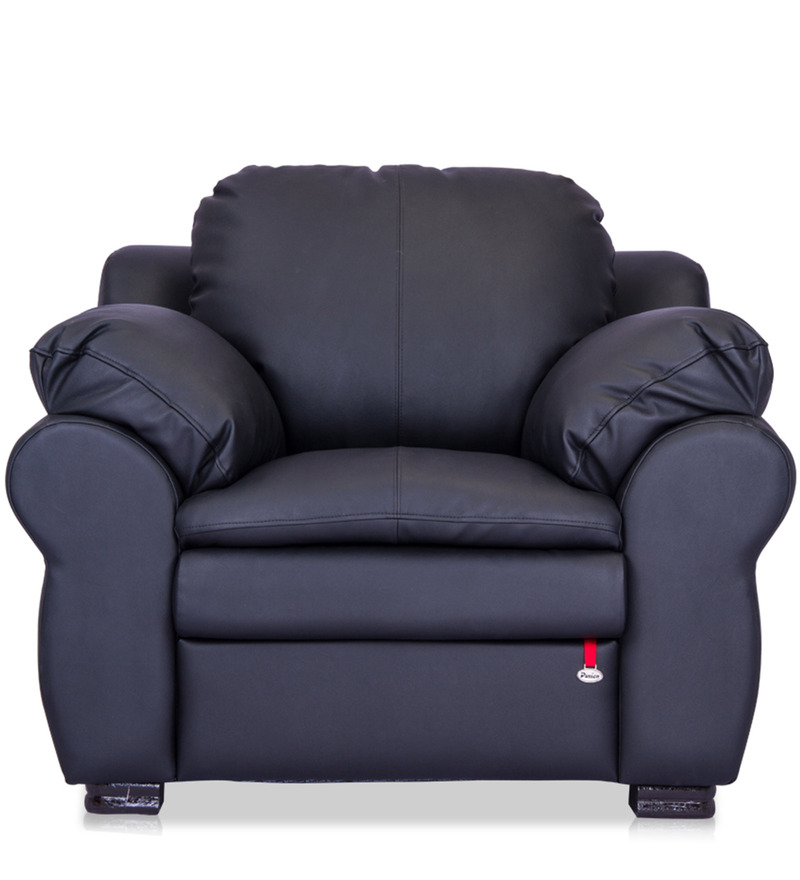 Berry One Seater Sofa in Eerie Black Colour by Durian  available at Pepperfry for Rs.22680