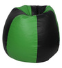 Bean Bag with Beans in Black & Green Leatherette by TJAR