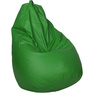 Bean Bag with Beans in Green Leatherette by TJAR