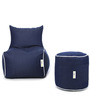 Bean Chair Set of 2, Denim Bean Chair XL & Round Puffy Cover without Beans in Blue Colour by Can