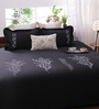 Bella Black and Grey Silk Queen Size Bedsheet - Set of 5