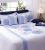 Bella Blue and White Cotton Queen Size Bedsheet - Set of 5