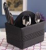 Belmun Black Leatherette 8 x 5.5 x 5 Inch 4-Section Cutlery Holder