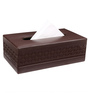 Belmun Smooth Cheques Embossed Rectangle Brown Leatherette Tissue Box