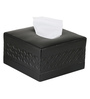 Belmun Smooth Cheques Embossed Square Black Leatherette Tissue Box