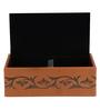 Belmun Textured 3 Petal Floral Embossed Rectangle Tan Leatherette Tissue Box
