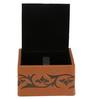 Belmun Textured 3 Petal Floral Embossed Square Tan Leatherette Tissue Box