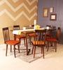 Bernadita Six Seater Dining Set in Provincial Teak Finish by Woodsworth