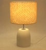 Bespoke Yellow & Off White Cotton Humpty Table Lamp