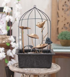 Importwala Brown & Gold Metal 3 Leaf Bird Cage with Led Sturdy Fountain