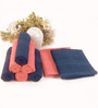 BIANCA Navy & Coral 100% Terry Cotton Face Towel - Set of 8