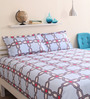 Bianca Blue Cotton King Size Bed Sheet - Set of 3