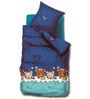 BIANCA Peek-A-Boo Egyptian King-Size Cotton Bedsheet in Blue with Pillow Covers (Set of 3)