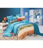 BIANCA Peek-A-Boo Blue Cotton Single Bed Sheet (with Pillow Covers) - Set of 2