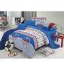 BIANCA Peek-A-Boo Cotton Single-Size Cotton Bedsheet in Imperial Blue with Pillow Covers (Set of 2)