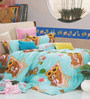 BIANCA Peek-A-Boo King-Size Cotton Bedsheet in Green with Pillow Covers (Set of 3)