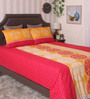 Bianca Red and Yellow 100% Cotton Queen Size Bedsheet - Set of 3