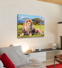 Hashtag Decor Big Lion on Savannah Grass Engineered Wood 27 x 20 Inch Framed Art Panel