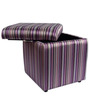 Bisca Square Storage Pouffe in Red & Purple Stripes Colour by Siwa Style