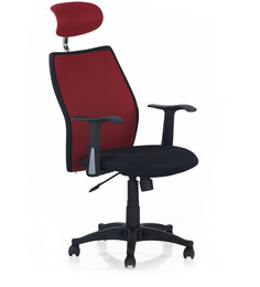 Blaze Highback Headrest Chair in Black & Red Colour by Nilkamal